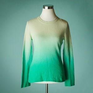 Aqua Cashmere M Green Ombre Crew Neck Sweater